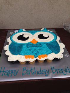 Owl cupcake cake