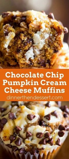 Chocolate Chip Pumpkin Cream Cheese Muffins - Dinner, then Dessert Chocolate Chip Pumpkin Cream Cheese Muffins are the perfect coffee shop or bakery style treat you& love all year round full tangy, sweet and warm flavors. Muffins Chocolate Chip, Muffins Blueberry, Zucchini Muffins, Pumpkin Chocolate Chips, Chocolate Cream Cheese Cupcakes, Pumpkin Chocolate Cheesecake, Cookie Cheesecake, Chocolate Torte, Cranberry Muffins