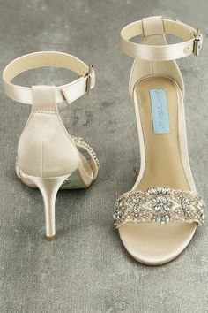 fb672782c787 Blue by Betsey Johnson Gina - Champagne Satin Heels - Ankle Strap Heels -   109.00 Champagne