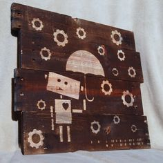 How to Stain a Image onto a Pallet wood robot in rain