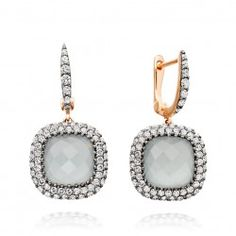 The Most beautiful earrings we have ever made. 18 carat rose gold grey aquamarine and silver diamond pave earrings from astleyclarke.com