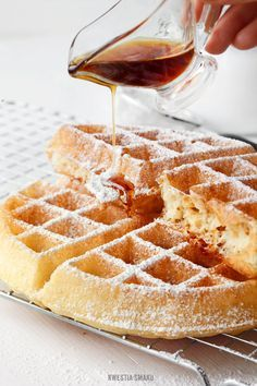 yeast waffles with honey: BEST WAFFLES EVER! I will make these forever! I just need to remember to do it the night before. These were so dang yummy! I served them with homemade buttermilk syrup. What's For Breakfast, Breakfast Items, Breakfast Recipes, Dessert Recipes, Desserts, Waffle Recipes, Beignets, I Love Food, Sweet Recipes