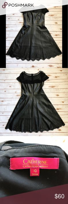 Catherine Malandrino faux leather dress size 10 Catherine Malandrino faux leather dress size 10. Great laser cut detail throughout the dress, looks like lace. Mesh top. Excellent condition. Catherine Malandrino Dresses Midi