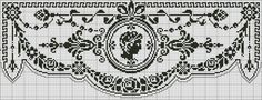 Curtain with medallion - Chart for filet crochet.