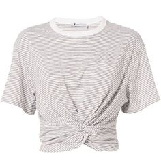 T by Alexander Wang Women's Twist Detail Striped Tee (1.210 DKK) ❤ liked on Polyvore featuring tops, t-shirts, shirts, crop top, stripe, striped shirt, short sleeve shirts, white t shirt, round neck t shirt and white crop shirt