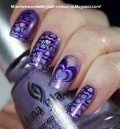 stamped with Kleancolor Metallic Purple and Red Angel RA-110 and RA-114