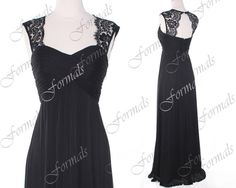 Black Prom Dress, Lace Formal Dresses, Lace Straps Chiffon Black Prom Gown, Formal Dresses, Bridesmaid Dresses from Formals on Etsy. Saved to Prom. Pretty Outfits, Pretty Dresses, Couture Dresses, Fashion Dresses, Dress Lace, Dress Up, Fancy Black Dress, Military Ball Gowns, Bridesmaid Dresses