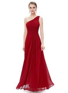 A-Line/Princess One-Shoulder Floor-Length Chiffon Prom Dress