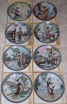 Imperial Jingdezhen Beauties of the Red Mansion Porcelain Plate Set of 8 #1 - 8 #babescollectibles