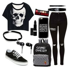 """starting school"" by audri-1 ❤ liked on Polyvore featuring Topshop, Vans, Panasonic, Casetify, Givenchy, NYX and Hard Candy"