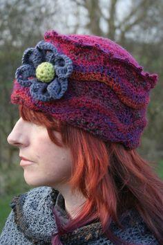 Woman's Winter-Crochet, Pill-Box Hat, With Flower. Ladies Crochet Pill-Box Hat / Womans Crochet Pill-Box Hat. Crochet in Ireland By Arboresk
