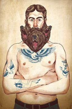 #beardedman   dibujo de hombre con barba tatuado  beardedman drawing with tattoo