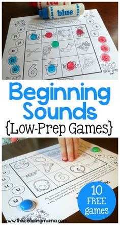 Beginning Sounds Games - Low-Prep Games You can Print and Play  This Reading Mama...these look great!!