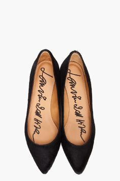 "Think about how positive your day would be if every morning you slipped your feet into shoes that said something kind, caring, or encouraging... Like ""I am strong & beautiful.""  (Lanvin pointed ballerina flats"