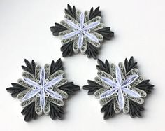 Snowflakes Gray White Christmas Tree Decoration Winter Ornaments Gifts Toppers Fillers Office Corporate Paper Quilling Quilled Handmade Art