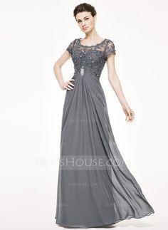 Corte A/Princesa Escote redondo Hasta el suelo Chifón Encaje Vestido de madrina con Volantes Bordado Lentejuelas (008062532)