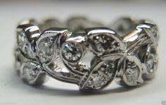 Antique Diamond Eternity Wedding Band Ring Platinum Art Deco Vintage Bridal  #WithDiamonds