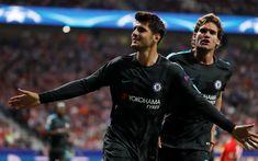 Download wallpapers Alvaro Morata, 4k, Chelsea, black uniform, footballers, Premier League, soccer, Chelsea FC