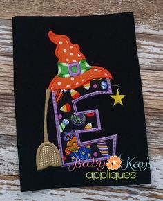 Baby Kay's Appliques - Witch Hat Alpha A cute and fun Halloween design. This Witch Hat Alpha comes with all letters A-Z. Each letter has a cute witch hat, broom and falling star. This design is great for boys or girls.
