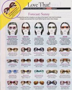 Chose the right sunglasses for your face ! Look at its shape