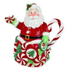Fitz and Floyd Peppermint Santa Teapot for Christmas!