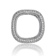 King Jewelers Pave White Diamond & White Gold Square Ring | King Jewelers