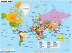 World physical map mountain ranges deserts etc click on each world map displaying various islands oceans continents countries in the world gumiabroncs Images
