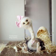 Toy Ostrich   Игрушечный страус МАЛИНОВАЯ КАРАМЕЛЬКА в интернет магазине на Ярмарке Мастеров