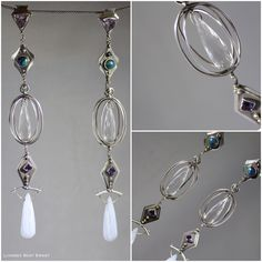 Air :: Earrings :: Sterling Silver and 18k gold with Chalcedony, Aquamarine, Lapis, Tanzanite and Azurite/Malachite