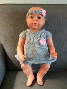 Going Home Outfit, Knitted Baby Girl Set, Grey Shimmer, Pink Flower, Knitted Baby Girl Clothes, Head band, 3-6 mths, Baby Gift, Christening