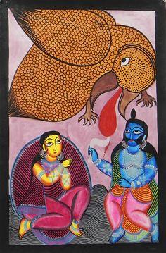 Jatayu Battles with Ravana to Rescue Sita (Kalighat Painting - Water Color on Paper - Unframed) Bengali Art, India Art, Krishna Art, Tantra, Outsider Art, World Cultures, Printmaking, Folk Art, Graphic Art
