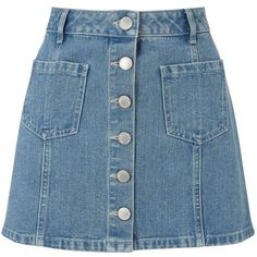 Miss Selfridge Petites Blue Denim Mini Skirt ($32) ❤ liked on Polyvore featuring skirts, mini skirts, mid blue, petite, denim miniskirt, a line denim skirt, short denim skirts, petite skirts and denim mini skirt