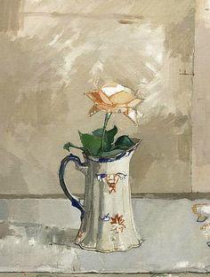 Euan Uglow.  Still Life with Rose,1957.