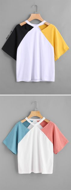 Shop Color Block Cut Out Neck Tee online. SheIn offers Color Block Cut Out Neck Tee & more to fit your fashionable needs. Diy Fashion, Ideias Fashion, Fashion Outfits, Womens Fashion, Fashion Design, Fashion Shirts, Latest Fashion, Fashion Trends, Shirt Diy