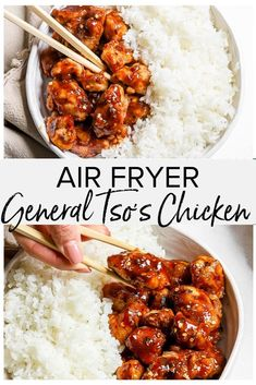 This Air Fryer General Tso s Chicken is a healthier take on the classic Chinese takeout and it s delicious Succulent chicken slathered in a tangy sauce served with a side of fluffy rice pure heaven on a plate chickenrecipes instapot chicken recipes Air Fryer Recipes Breakfast, Air Fryer Oven Recipes, Air Fry Recipes, Air Fryer Dinner Recipes, Cooking Recipes, Healthy Recipes, Easy Recipes, Air Fryer Chicken Recipes, Ninja Recipes