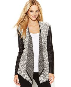 INC International Concepts Mixed-Media Faux-Leather Open-Front Cardigan - Macy's XL