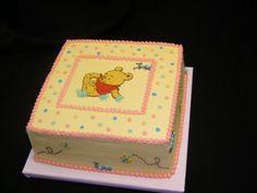 Winnie The Pooh Pink Baby Shower Cake Triple chocolate fudge cake with buttercream icing. Winnie The Pooh Cake, Winnie The Pooh Birthday, Winnie The Pooh Friends, Frozen Birthday, Birthday Fun, Birthday Cakes, Baby Shower Sheet Cakes, Adoption Shower, Baby Boy Crib Bedding