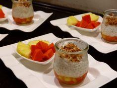 Dessert - tapioca pudding on caribbean fruits, sprinkelt with caramelized coconut and ginger