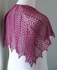 Venation shawl free knitting pattern for lace weight yarn. Two styles
