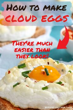 Looking for a new, fun way to serve sunny-side up eggs? Make cloud eggs by whipping egg whites to stiff peaks, add grated cheese, settle the yolk gently in the center and then bake. They resemble fluffy little clouds and taste absolutely delicious! Perfect recipe for farm fresh eggs! Can be made with duck eggs too! Egg Recipes, Dessert Recipes, Cooking Recipes, Pet Chickens, Chickens Backyard, Chicken Story, Chicken Pictures, Duck Eggs, Chicken Humor