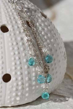 Blue Apatite Earrings with White Topaz Argentium Sterling Silver Chain Long Dangly Delicate - Naomi