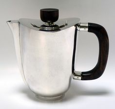 Paul Evans (1931-1987), American / sterling silver teapot with East Indian rosewood handle and knob (restored), plain sides, c. 1952, USA