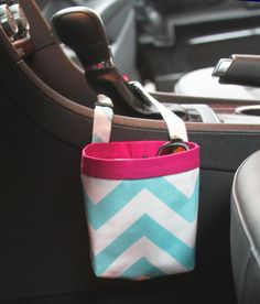 CAR CELLPHONE CADDY Aqua Chevron Car Phone Holder by GreenGoose