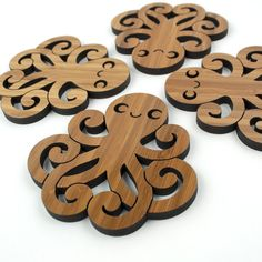 Octopus Wooden (Bamboo) Coasters - www.graphicspaces.com