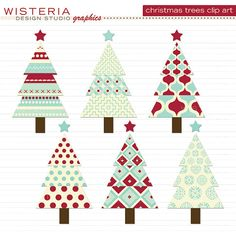 Christmas Trees Red Blue Ivory Clip Art by WisteriaDesignStudio, $5.00