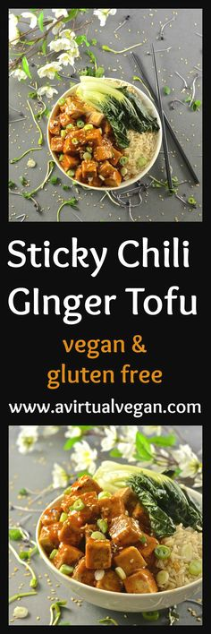 This Asian style Sticky Chili Ginger Tofu is so fast and easy to make. It's sweet, sticky & spicy with amazing depth of flavour. A perfect mid-week meal!   via @avirtualvegan