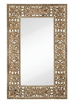 "INFORMATION:  Features:  Frame Material: Polyurethane Brand: Majestic Mirror Wall Mounted Beveled Mirror Distressed Cream Finish Unique Traditional Style Oversized Floor-Length Mirror Manufacturer provides 1 year warranty Ships free! Weight and Dimensions:  Overall Dimensions: 72"" H x 46"" W Overall Weight: 65 lbs."