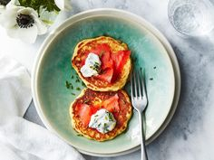 Corn Pancakes with Smoked Salmon and Lemon-Chive Cream | Enjoy our best healthy recipes for all that sweet, crunchy, peak-season corn.
