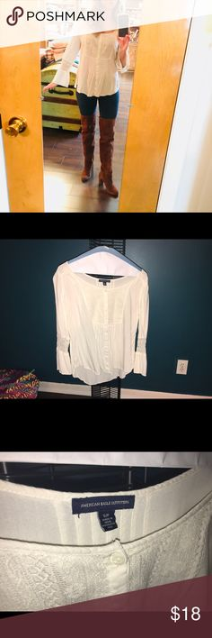 American Eagle Crochet and Lace Tunic Top Top Only! This is one of my favorite casual tunics that transitions from Summer to Fall to Spring. Pair it with some shorts or jeans with boots or flip flops! American Eagle Outfitters Tops Tunics