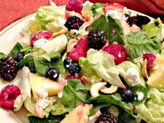 Salad Greens with Berries, Cashews, and Goat Cheese | Can't Stay Out Of The KitchenCan't Stay Out Of The Kitchen